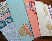 vintage mail ephemera - collage postcards - set of 4 with envelopes