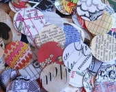 M - reclaimed paper dots - 50 circles various collage and art papers - 1 inch - mid size