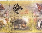 Russian stamp set -  English animals - Wind in the Wiloows - vintage postage stamp ephemera