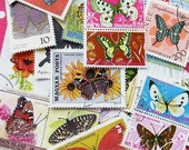 butterfly stamps - 25 - world postal ephemera - contemporary and vintage