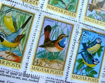 vintage postage - Hungarian birds stamp set - postage stamp ephemera