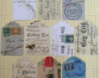 vintage bank cheque ephemera - gift tags - set XA - 10 extra large - REPRO