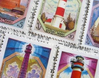 vintage postage - lighthouses - postage stamp ephemera - Russia