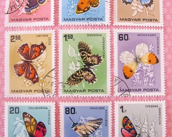 Butterfly stamp set - Hungary - postage stamp ephemera - vintage