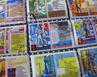 vintage postage stamps - Russian workers stamp set - industrial graphic - postage stamp ephemera