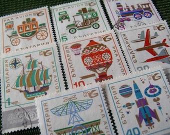 vintage postage - transport graphic - vintage postage stamp ephemera