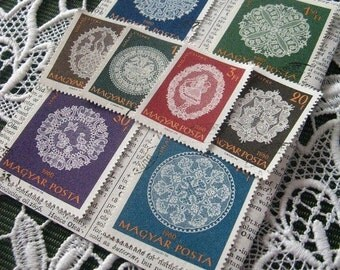 Lace stamp set - Hungary - postage stamp ephemera - vintage