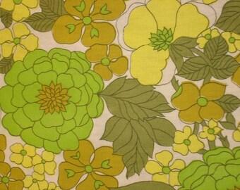 vintage fabric - lemon lime flannelette floral - 24x39 inches
