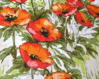 vintage fabric -  field poppies