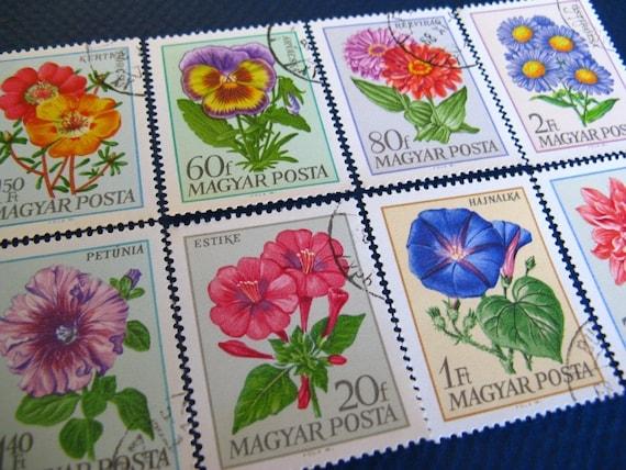 Hungarian flower stamp set - postage stamp ephemera
