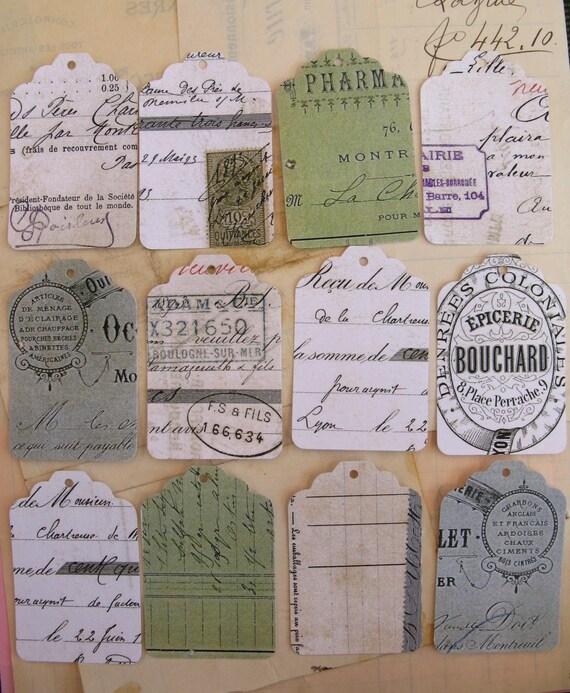 vintage illustrated receipt ephemera - gift tags - set B - 12 large - REPRO