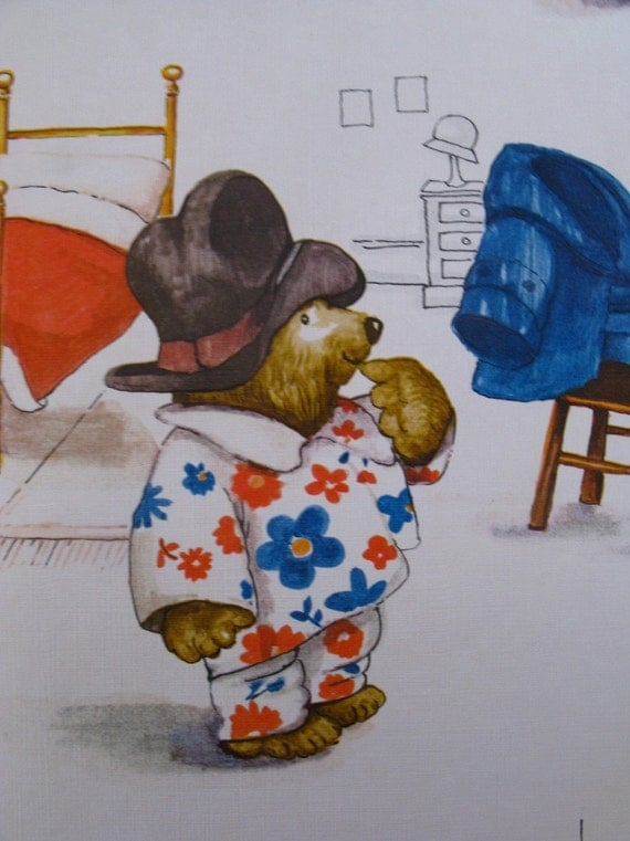 vintage wallpaper - paddington bear - per yard