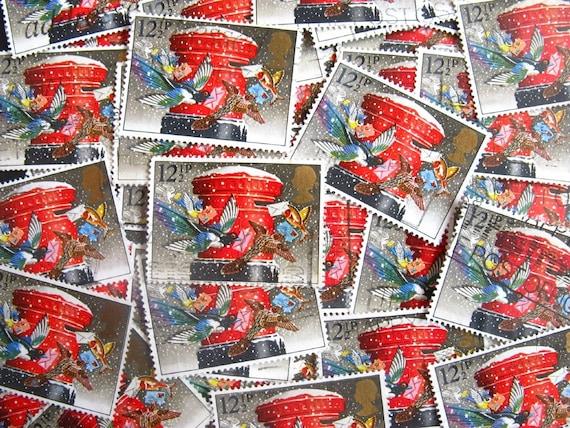 vintage postage - British pillarbox and birds - postage stamp ephemera