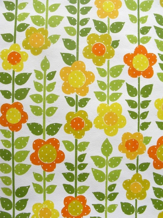 vintage wallpaper - sunny floral with dots - per full yard