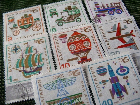 vintage postage - transport graphic - vintage postage stamp ephemera