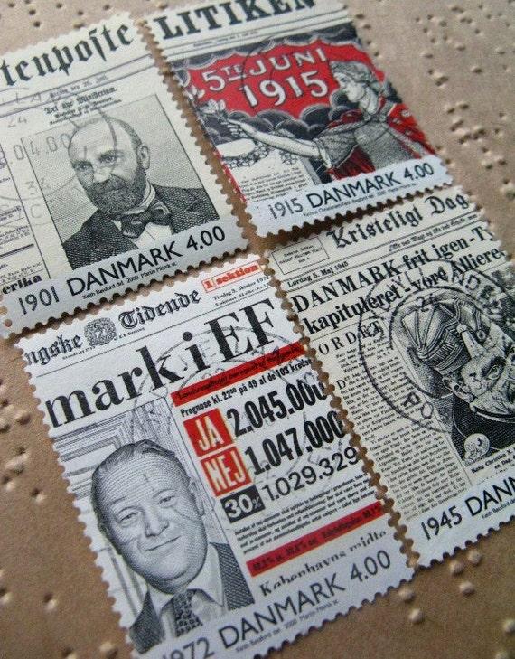 Newspaper stamps - 8 - Denmark contemporary postage stamp ephemera - Danish