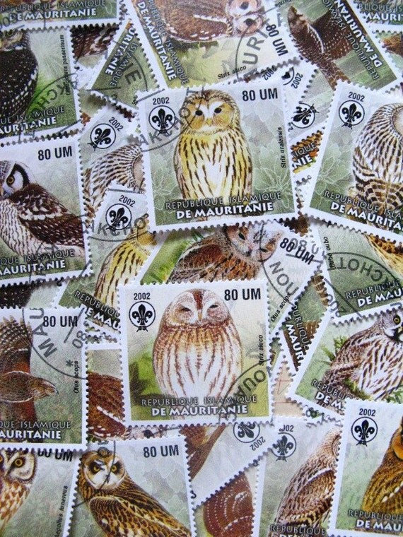 owl stamps - 24 - contemporary postal ephemera
