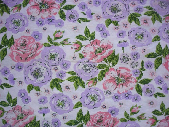 vintage fabric - pink and lilac sketch floral