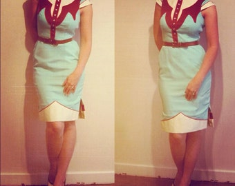 The Dale Dress - Vintage Aqua - Western Rodeo Cowgirl Pinup Dress
