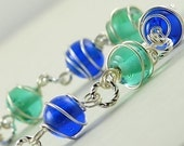 BOGO SALE Wire Wrapped Glass Blue Tones Bracelet. Germany Bracelet in Blue