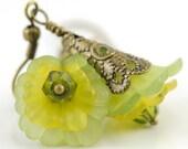 Green Dangle Earrings - Blooming Flower Earrings Bead Jewelry Beaded Earrings - Mali Earrings in Green