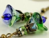 Blue Green Flower Earrings, Beaded Floral Jewelry, Blueberry and Green Flower Dangles, Gift for Nature Lover Gardener, Nature Inspired