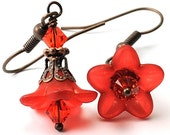 Flower Jewelry. Valentine's Day earrings. Red Flower Earrings with Swarovski Crystals and Antiqued Copper. Costa Rica in Red