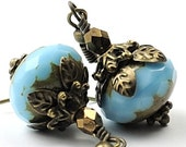 December Birthstone Earrrings Blue Turquoise Earrings Birthstone Jewelry Glass earrings . Picasso Finish Faceted Glass and Antiqued Brass.