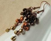 Long Cluster Earrings. Wire Wrapped Glass Earrings. Cafe Mocha Cluster Earrings with Czech Glass.  Australia Earrings in Coffee Shades