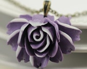 Lavender Jewelry. Lavender and White Rose Necklace. Argentina Necklace in Lavender and White
