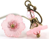 Pink Flower Earrings. Think Pink. Light Pink Petite Dangle Earrings with Czech Glass and Antiqued Brass. Japan Earrings in Light Pink