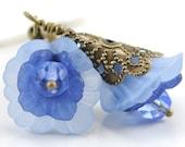 Handmade Blue Blooming Flower Earrings. Mali Earrings in Blue II