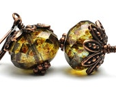 Bead Earrings. Glass Earrings in Moss Green Brown with Copper Luster in Antiqued Copper. Denmark Earrings in Green Brown