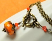 Halloween Jewelry Pumpkin Necklace Halloween Necklace Opaque Orange Czech Glass Necklace with Swarovski Crystals and Antiqued Brass Necklace