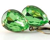 Birthstone Earrings Peridot Earrings August Birthday Jewelry, Vintage Jewel Earrings, Sweden Earrings in Teardrop Peridot