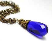 Cobalt Blue Glass Necklace. Glass Jewelry. Wire Wrapped Pendant Necklace. Winter Fashion under 25