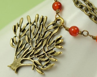 Tree Necklace. Woodland Gemstone Necklace. Red Agate and Antiqued Brass Tree. Canada Necklace in Red Agate