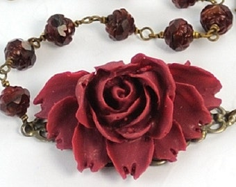 Statement Necklace Rose Flower Necklace Beaded Necklace Burgundy Rose Necklace with Rosebuds . Argentina Necklace in Burgundy Rosebuds