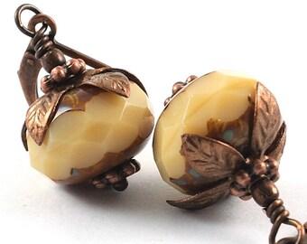 Satin Brown Glass Earrings - Beige Earrings - Dangle Earrings - Beaded Earrings - Bead Jewelry - Antiqued Drop Earrings - Denmark