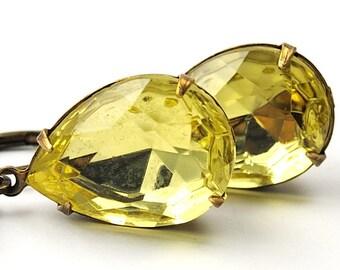 Yellow Earrings. Drop Earrings Jewel Earrings Jonquil Vintage Jewels in Antiqued Brass . Mothers Day Jewelry . Sweden Earrings
