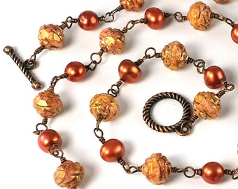 Fall Necklace, Orange Necklace for Mom, Mothers Day Gift, Orange BeadedJewelry Copper Freshwater Pearl Necklace Autumn Necklace Fall Jewelry