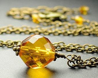 Topaz Jewelry. Glass Necklace. Topaz Necklace. November Birthstone Necklace. Topaz Brown Pendant Necklace. Brass Jewelry. Mexico