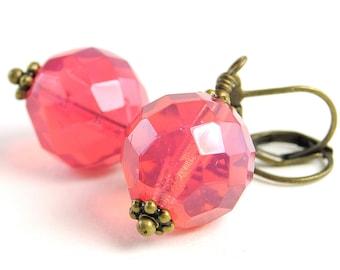 Pink Glass Earrings, Opal Dark Pink Bead Earrings Bright Pink Earrings. Neon. Mexico Earrings in Faceted Czech Opal Dark Pink
