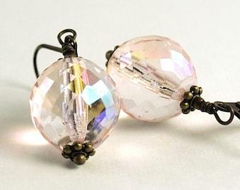 Pale Pink Earrings Blush Earrings Dangle Earrings Glass Jewelry Cocktail Jewelry Czech Glass Earrings, Mexico Earrings