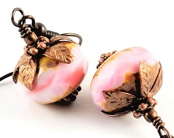 Pink Earrings Glass Jewelry Beaded Earrings in Opaque Pale Pink Faceted Glass Earrings Antiqued Copper, Think Pink, Denmark