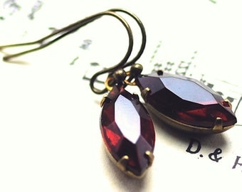 Christmas Earrings Siam Red Earrings Christmas Jewelry, Vintage Jewel Earrings Antiqued Brass, Red Glass Earrings, Marquise Navette Sweden