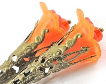 Halloween Earrings Halloween Jewelry Gift Idea . Long Earrings Flower Earrings . Orange and Red Iris Earrings in Antiqued Brass. Spain