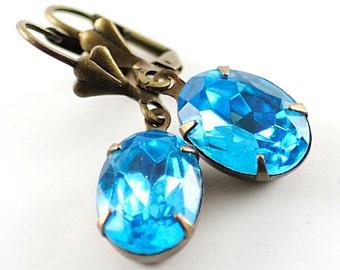 March Birthstone Earrings Birthstone Jewelry Aquamarine Earrings Aqua Blue Vintage Jewel Earrings March Birthday Gift for Mom Sweden Earring