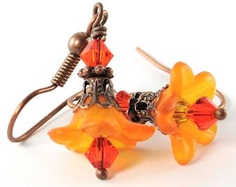 Halloween Earrings Gift Idea. Petite Orange Flower Earrings with Swarovski Crystals and Antiqued Copper. Costa Rica Earrings in Orange