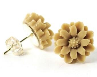Earring Studs Toffee Brown Earrings Caramel Earrings Cappuccino Cinnamon Earrings Flower Earrings Post Earrings Floral Jewellery, Argentina